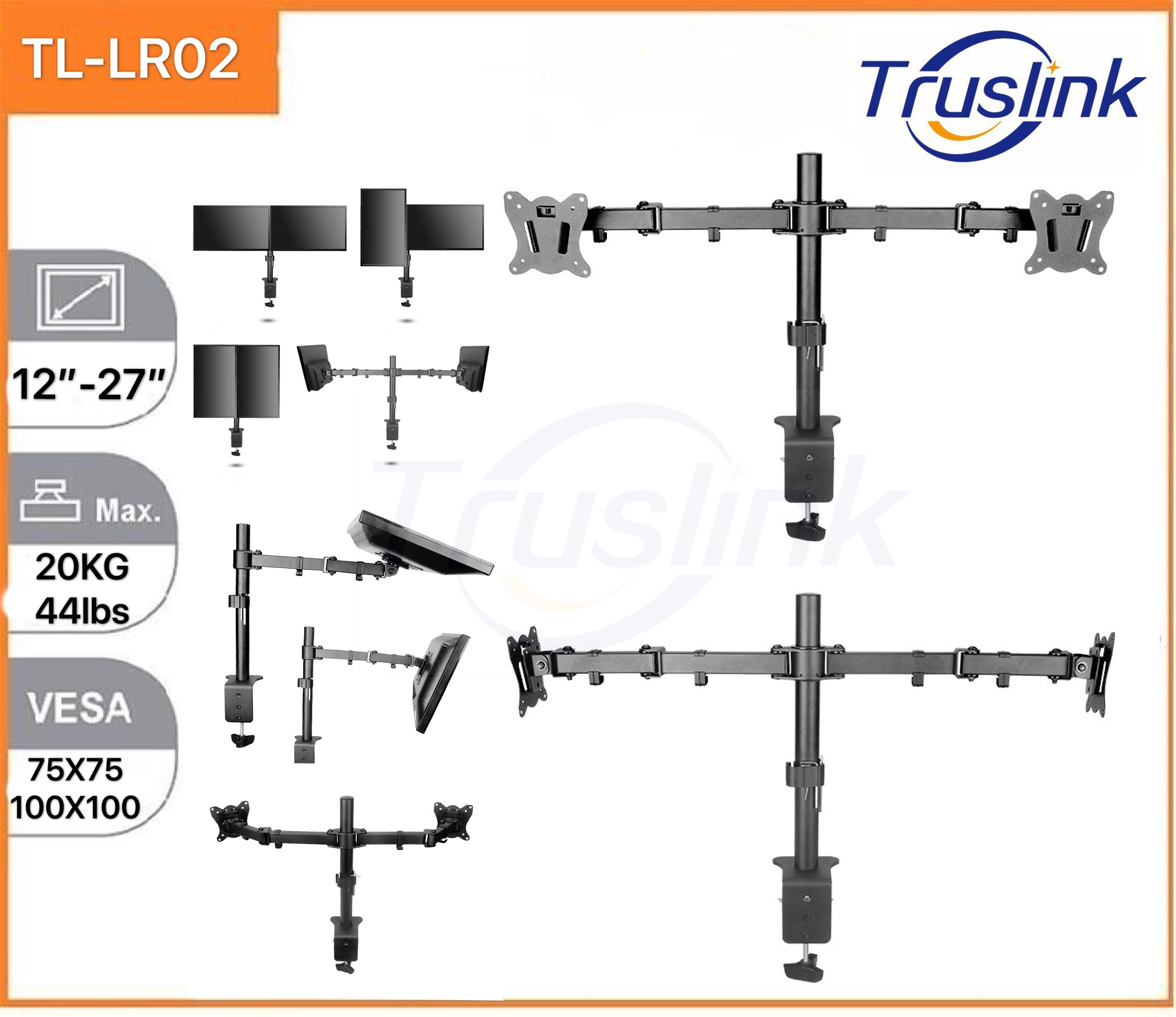 [SG Seller]Truslink Dual Monitor Desk Stand Table Clip Height Adjustable Full Motion Two Arm Monitor Mount for Two 12 to 27 inch LCD LED Screens with Swivel and Tilt, 10KG Per Arm Up Down Tilt 100° Adjustment