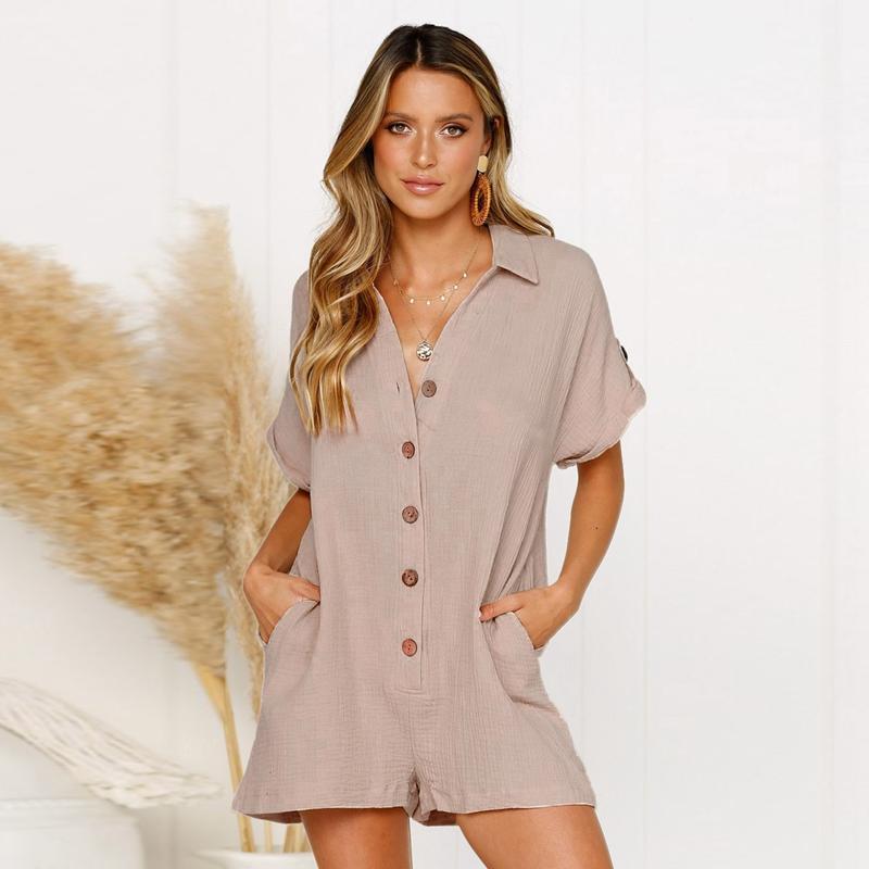 Giá bán Summer Short Sleeve Jumpsuit Linen Button Playsuit Women Solid V-Neck Casual Pockets Loose Wide Leg Jumpsuit Shorts
