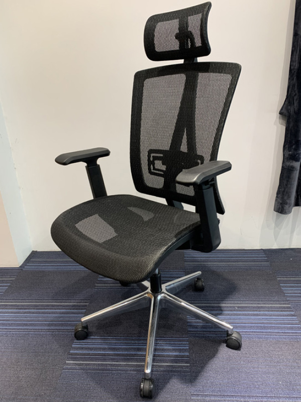 Fully Assembled Ergonomic Full Mesh Office Chair | Office Mesh Chair with Adjustable Headrest, Lumbar support and Armrest | Office Chair able to recline and lock at multiple angle | Fast Delivery and Ready Stock in Singapore Singapore