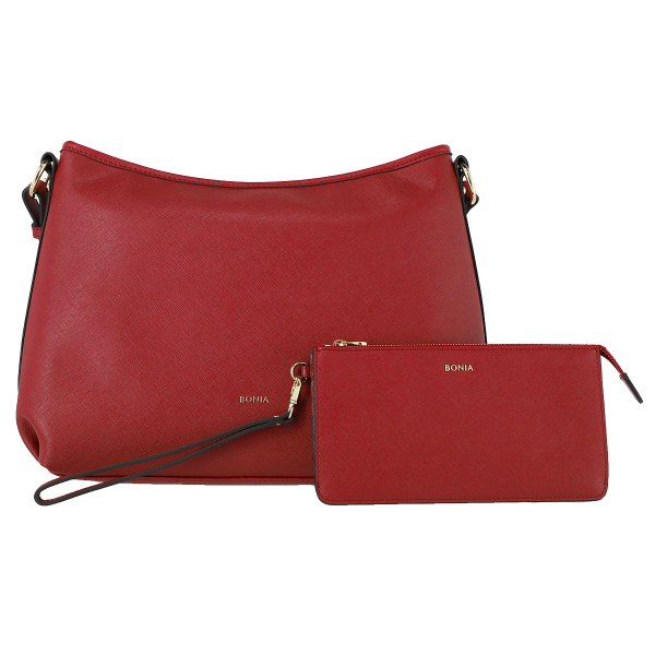Bonia Leather Shoulder Bag with Flat Pouch Set (Red)