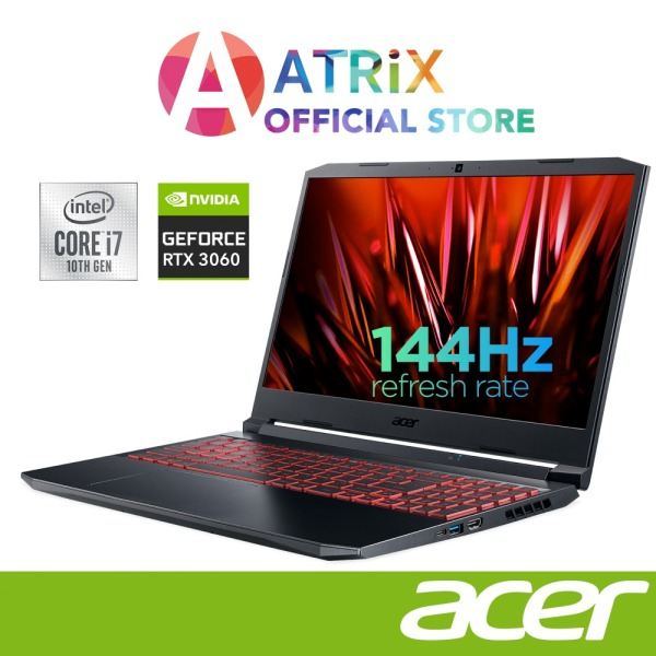 【Express Delivery】Acer Nitro 5 Gaming AN515-55-78Q0 | 15.6inch FHD 144Hz | Intel Core i7-10750H | GeForce RTX 3060(85W) | 16GB DDR4 | 1TB SSD | 4 Zone RGB | Win10 Home | 2Yrs Acer Warranty