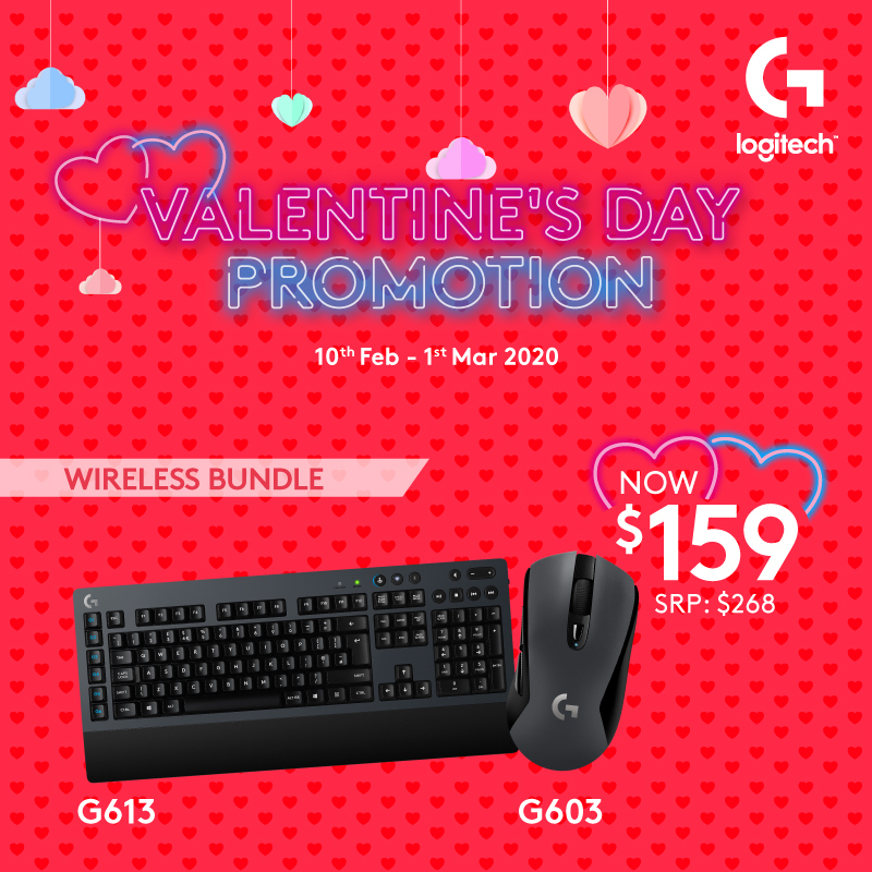 Logitech G603 Lightspeed Wireless Gaming Mouse + G613 Lightspeed Wireless Mechanical Gaming Keyboard Mid End Gaming Bundle Singapore