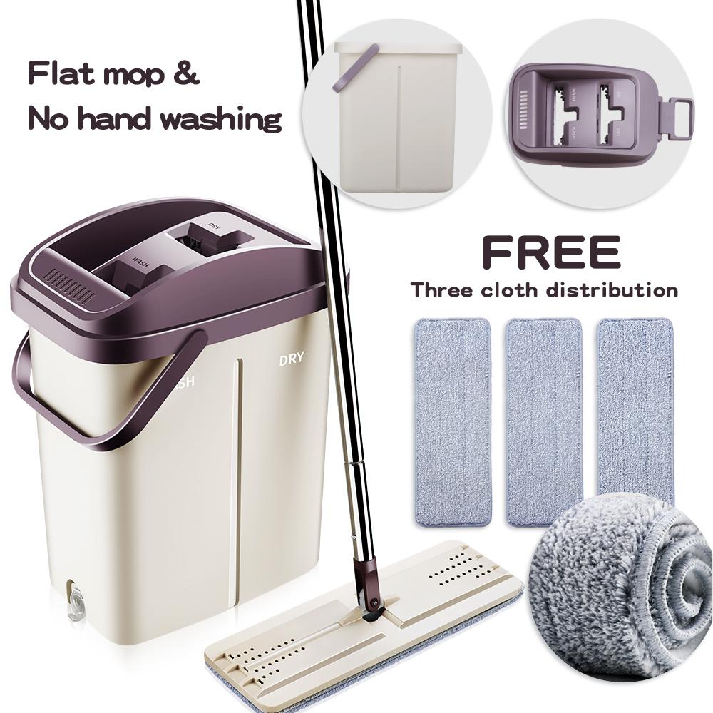 2in1 Self-Wash And Squeeze Dry Flat Mop With Bucket Scratch A Net Stainless Steel Automatic Floor Hands Free Wash Microfiber Lazy Mop By Jiabs Commodities Store.