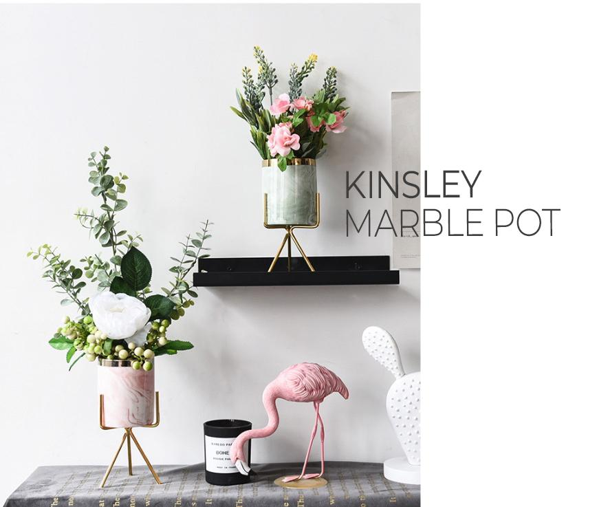 KINSLEY Pastel marble ceramic flower pot with gold stand