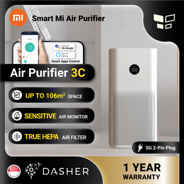 [ENGLISH] XIAOMI Air Purifier 3C Smart Home Touch Screen OLED Display with 2pin Singapore Plug Smart Home App Control Wifi Remote Haze Control Singapore