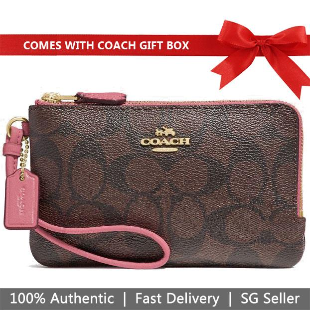 Coach Wristlet In Gift Box Double Corner Zip Wristlet In Signature Canvas Brown / Strawberry # F87591