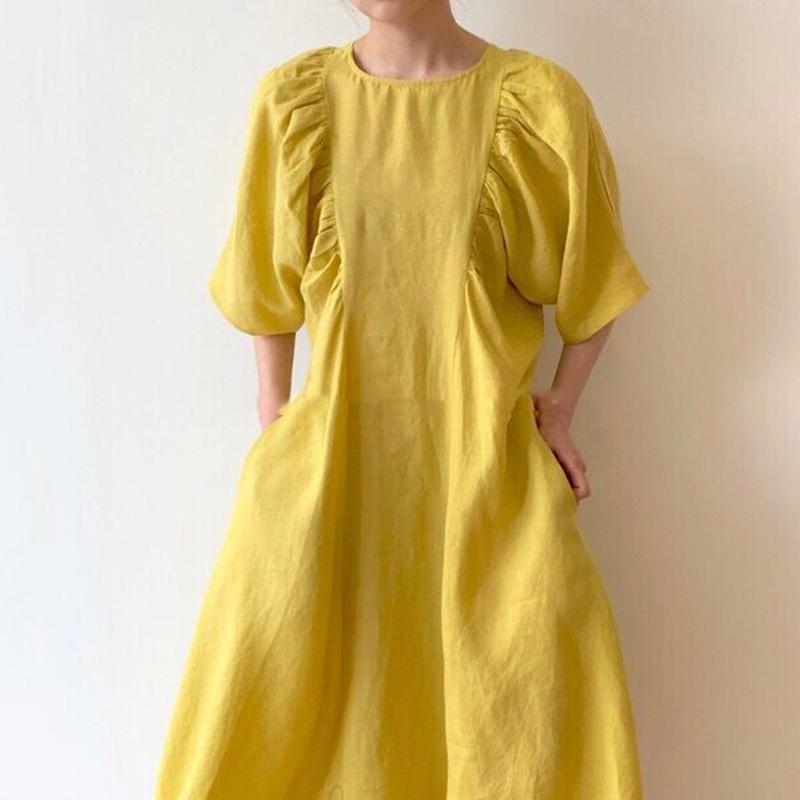 Hàn Quốc Ins Phong Cách Retro Phong Cách Cung Đình Kiểu Gấp Aó Hai Mặt Thiết Kế Dáng Suông Rộng Lớn Loại Tay Áo 7 Phân Đầm Váy Dài Nữ
