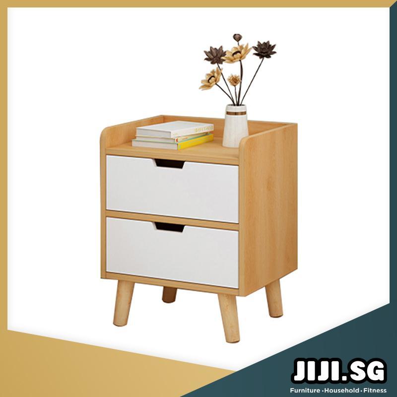 (JIJI SG) HONA Bedside Table (Dual Drawer) (Free Installation) - Bedroom Furniture / Bedside Tables / 6 Months Warranty (SG)