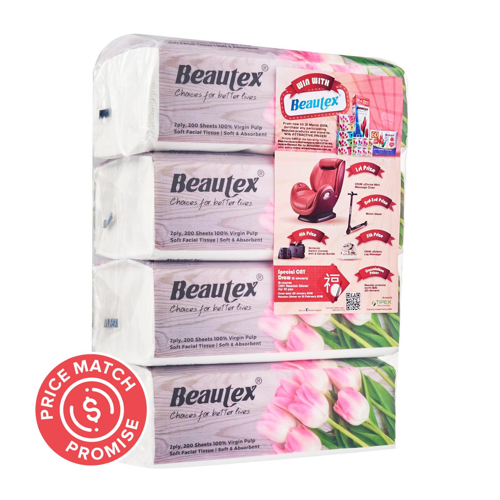 Beautex 2Ply Pure Pulp Soft Pack 4 X 200S Tissues