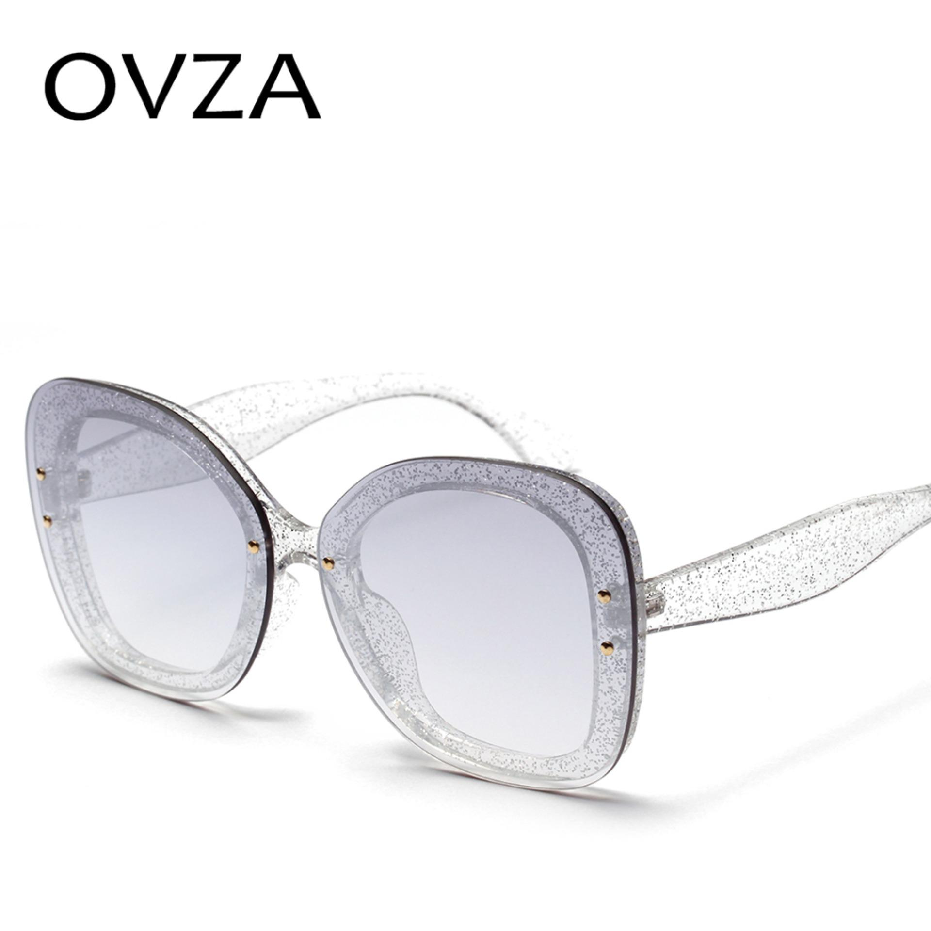 a5d9a63f9458 OVZA Fashion Woman 2018 Sunglasses Rimless Girl Square Luxury Sunglasses  Pink Gradient Glasses Big Frames S6045