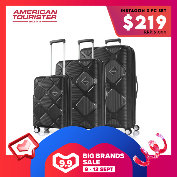American Tourister x Lazada 9.9 Exclusive 3pcs Set: Instagon Spinner Exp TSA
