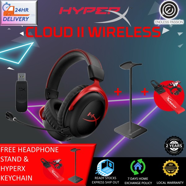 HyperX Cloud II Wireless - Gaming Headset for PC, PS4, Nintendo Switch, Long Lasting Battery Up to 30 Hours, 7.1 Surround Sound, Memory Foam, Detachable Noise Cancelling Microphone with Mic Monitoring [Free Headphone Stand + 24 hours delivery]