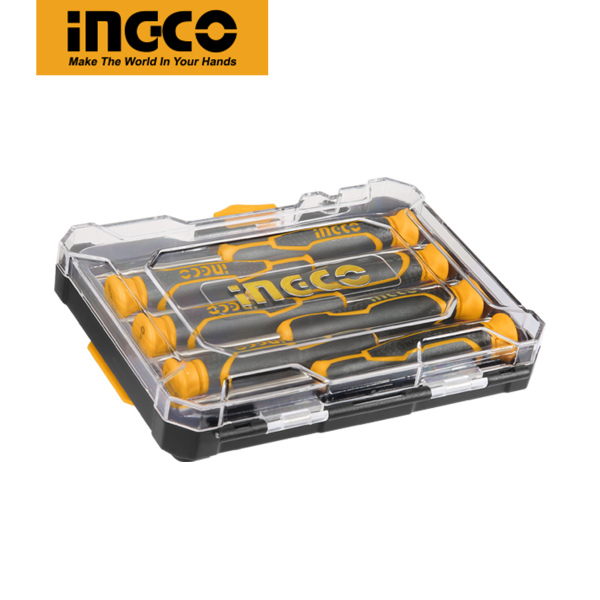 INGCO CR-V 7 pcs Precision Screwdriver Set with Ergonomic Comfort-Grip Handle HKSD0718