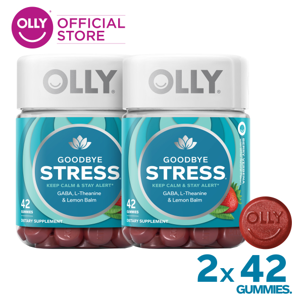 Buy [Bundle of 2] OLLY Goodbye Stress Gummy Supplements with GABA, For Keeping Calm and Staying Alert, Chewable Supplement, 21 Day Supply (42 Count) Singapore