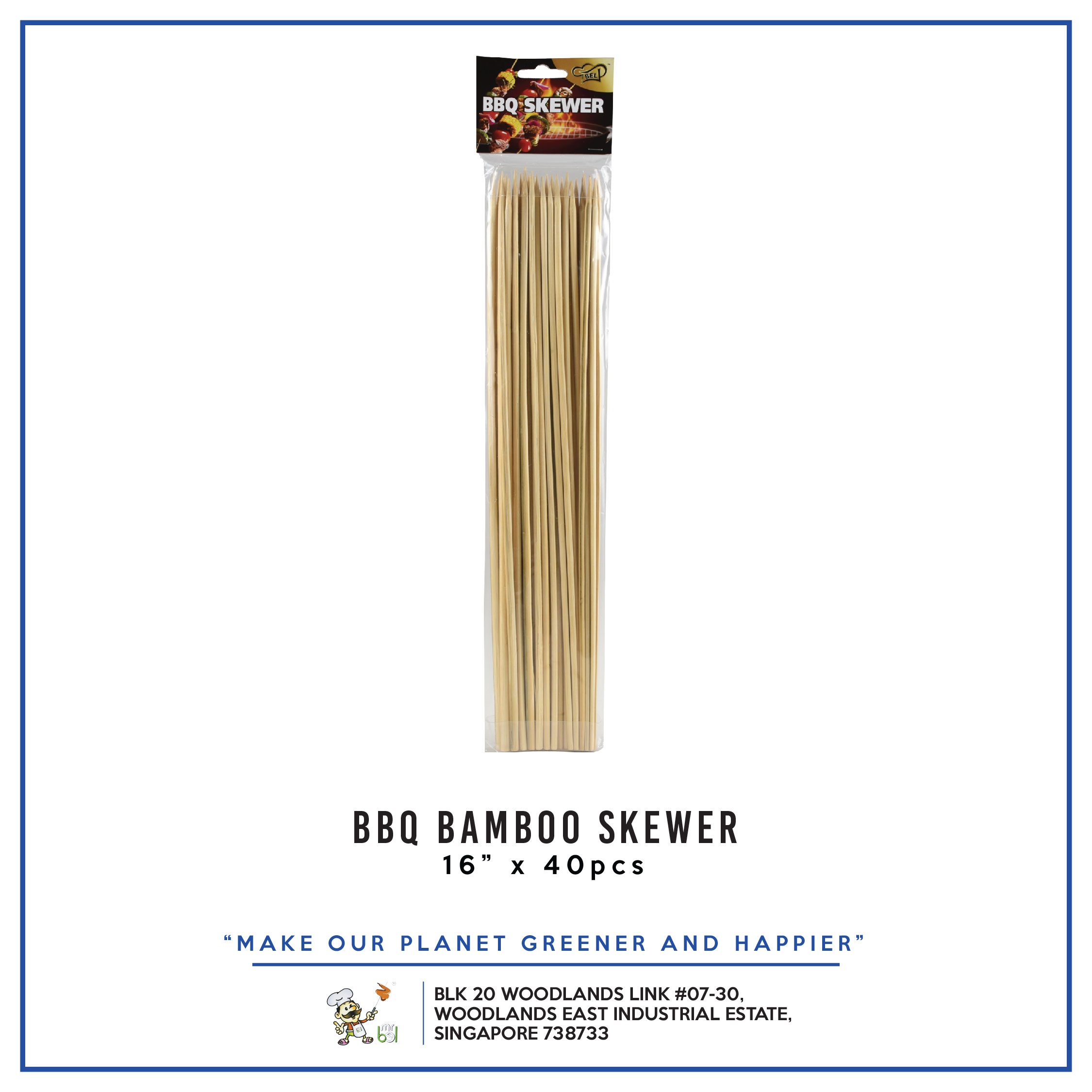 BBQ Bamboo Skewer 16  per pack - 1 Carton (24packs)