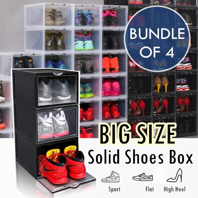♦ BUNDLE OF 4 ♦ BIG Plastic Stackable Shoes Box Storage Rack ♦ Foldable Shoe Cabinet Drawer Shelf