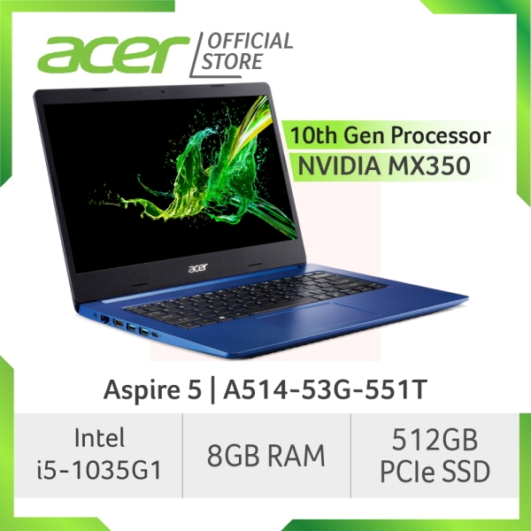 Acer Aspire 5 A514-53G-551T laptop with 10th Gen Intel Core processor and NVIDIA MX350 Graphic