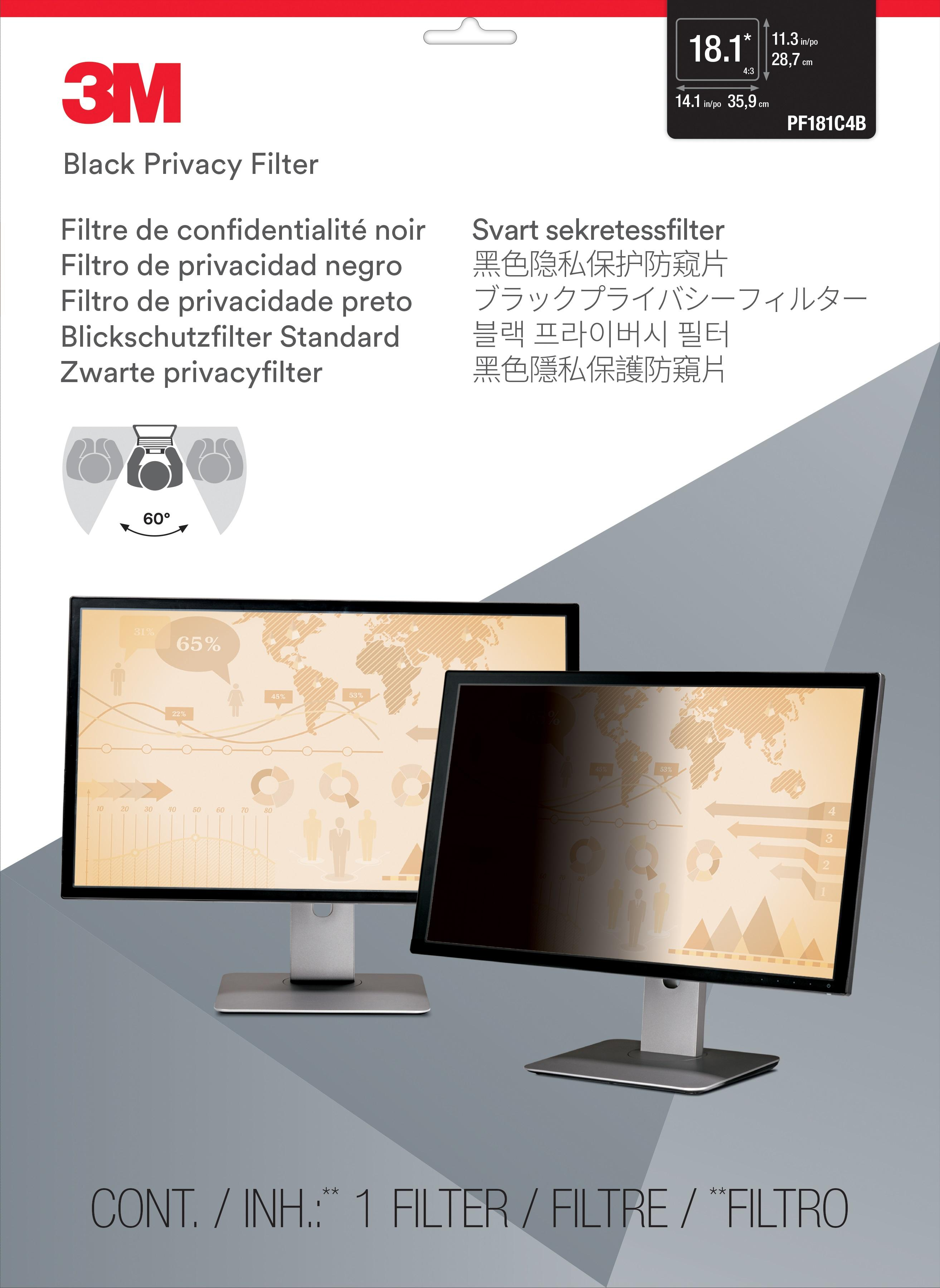 3M™ Privacy Filter for 18.1-inch Standard Monitor (PF181C4B) - 359 mm (W) x 287 mm (H)