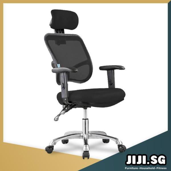 (JIJI SG) Office Executive Chair Ver 1 Adjustable ArmRest (Free Installation) - Home Office Chair/ Office chairs /Study chair/Gaming chair/Ergonomic/ Free 6 Months Warranty (SG) Singapore