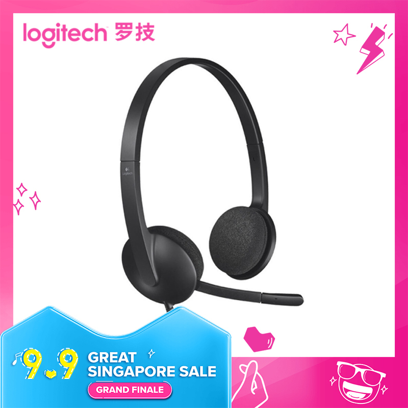 logitech H340 usb earphones wired computer headset with microphone noise cancelling earphones headphones headsets Singapore