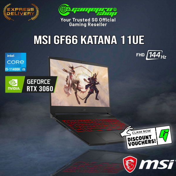 [Express Delivery] NEW 11th MSI GF66 11UE-253SG Gaming Laptop (i5-11400H/16GB/RTX 3060/15.6 FHD 144hz/W10/2Y)