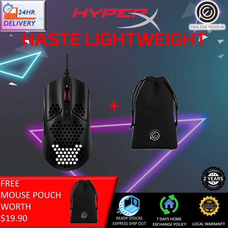 HyperX Pulsefire Haste – Gaming Mouse, Ultra-Lightweight, 59g, Honeycomb Shell, Hex Design, RGB, Hyperflex USB Cable, Up to 16000 DPI, 6 Programmable Buttons