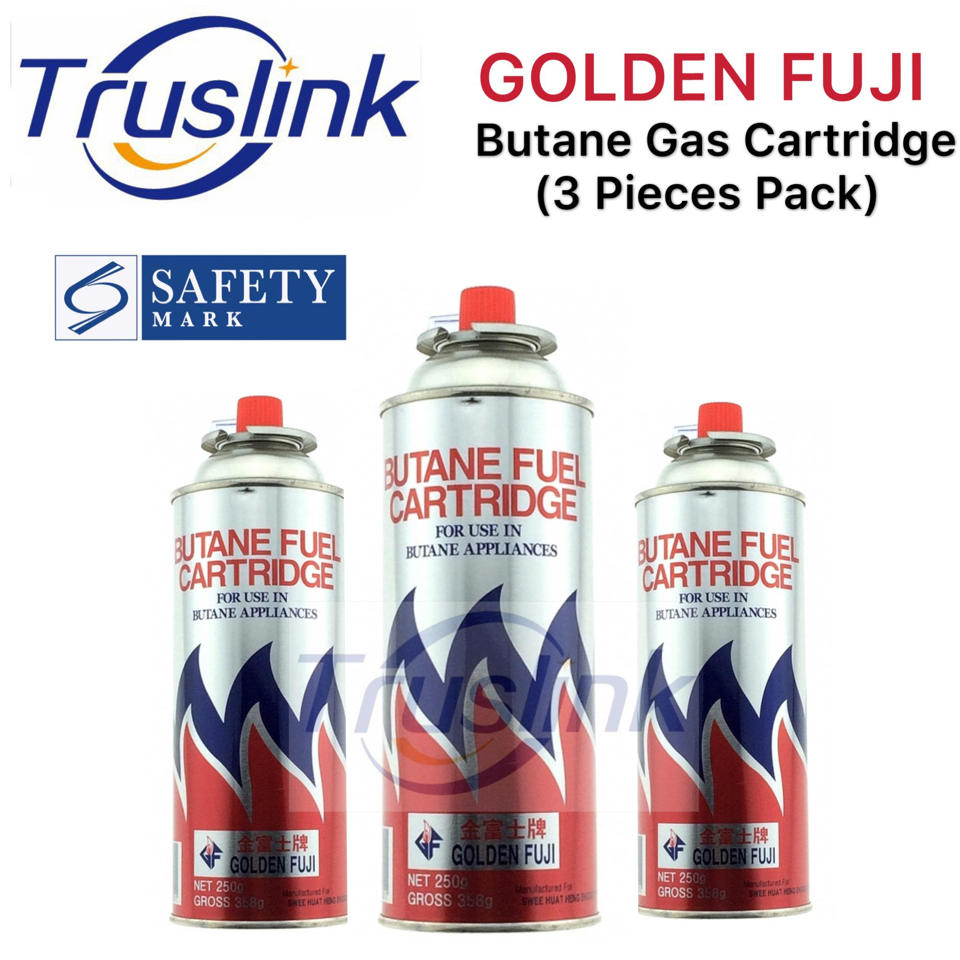 [SG Seller]Truslink Golden Fuji Gas Cartridge 3 IN 1 Pack Singapore Product Safety Mark Approved Butane Fuel Cartridge Butane Gas 3 X 250g/250ml
