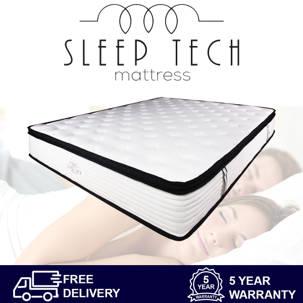 Euro Top Pocketed Spring Mattress by Sleep Tech™ 11 Inch High Quality Euro Design. Comes in King Size, Queen Size, Super Single and Sigle Size. Trusted Mattress Brand by Hotels Around the World. 5 Star Mattress Suitable for Singapore Bed and bedframes