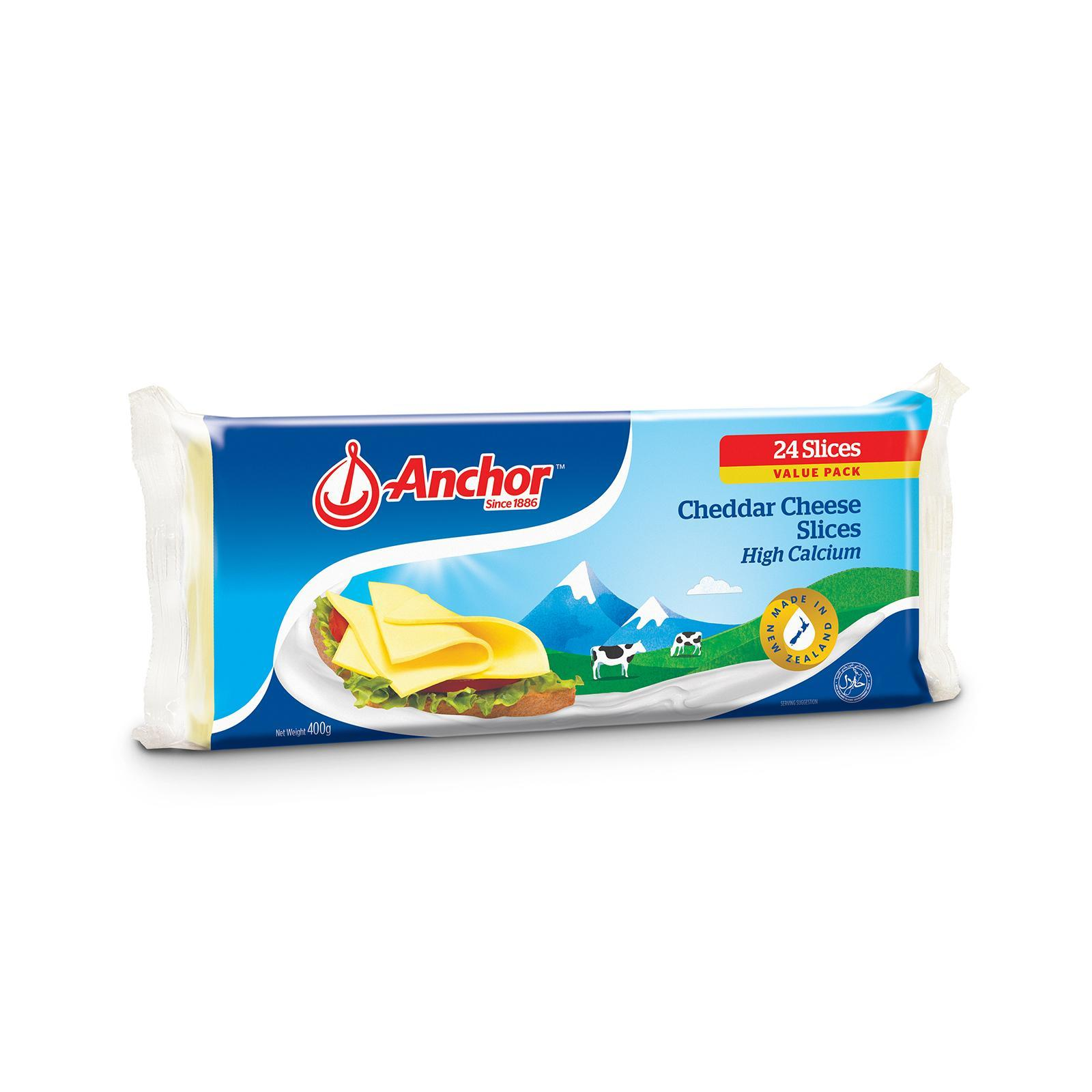 Anchor 24s Cheddar Cheese Slices 400G