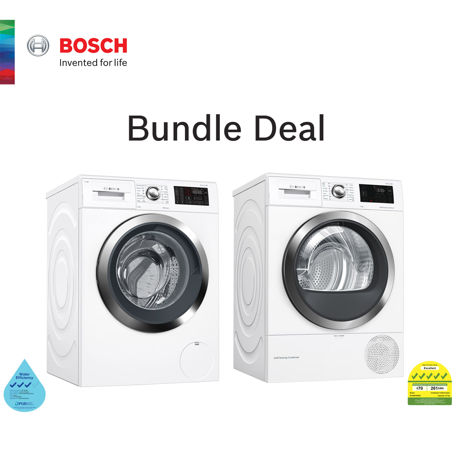 Bosch Smart Home Laundry 9kg Front Load Home Connect Washing Machine White Wat286h9sg  1400 Rpm + 8 Kg Idos Feature Front Load Tumble Dryer Wtw876h8sg With Heat Pump.
