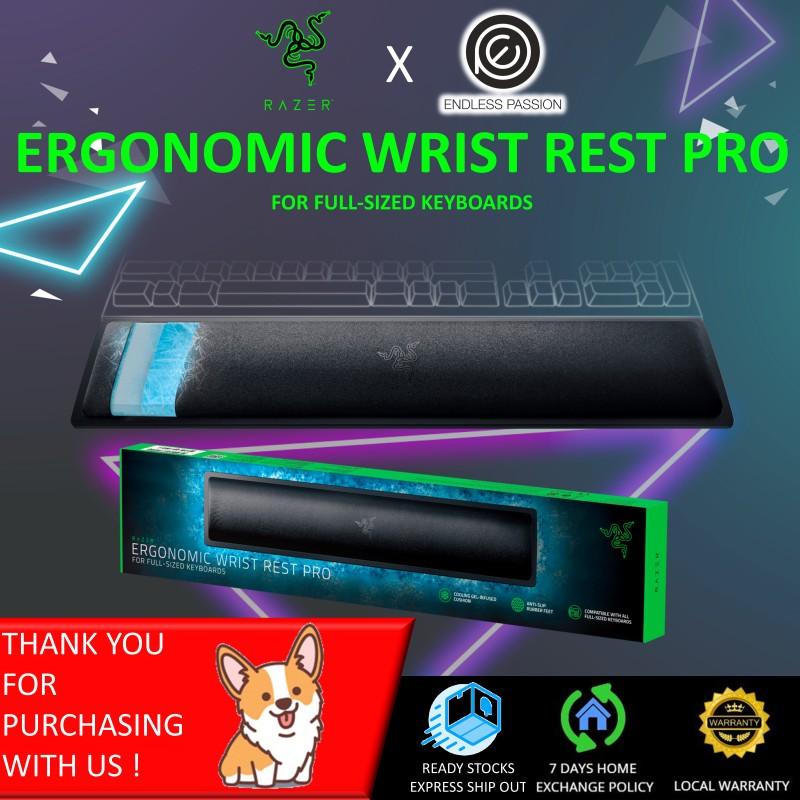 Razer Ergonomic Wrist Rest Pro for Full-Sized Keyboards: Cooling Gel Infused - Anti-Slip Rubber Base - Angled Incline - Classic Black Singapore