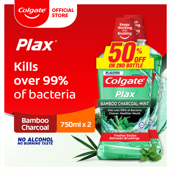 Buy [Kills over 99% of bacteria] Colgate Plax Bamboo Charcoal Mint Mouthwash Valuepack 750ml x 2 Singapore