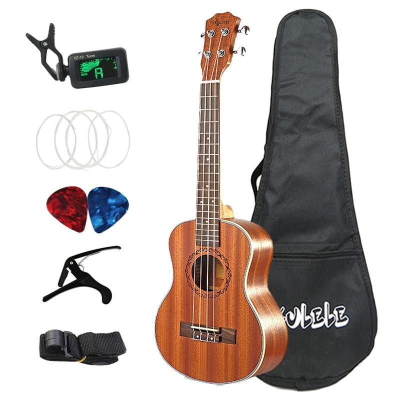 26 Inch Ukulele Set 19 Fret Tenor Mahogany Wood Ukulele Acoustic Cutaway Guitar Rosewood Fingerboard Metal Pegs Hawaii 4 String Guitarra