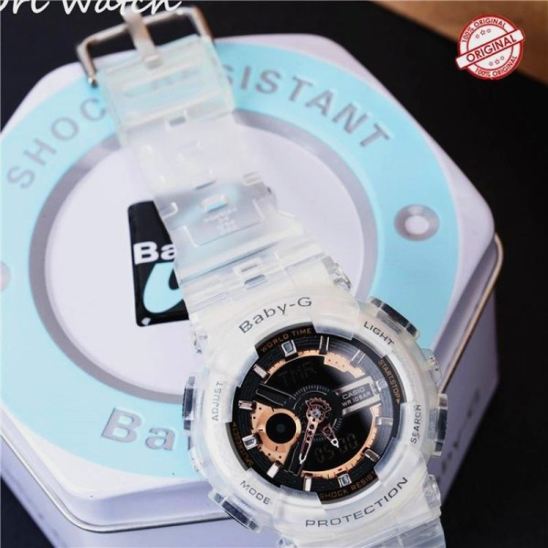 (Ready stock) Original BABY G BA-110 womens rose gold series sports transparent strap watch waterproof shockproof ladies brand watch watch series electronic watch BA-110 / BA110 Malaysia