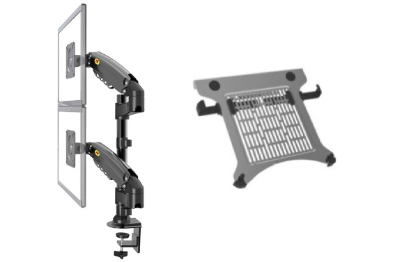 H160 LED Monitor Arm with Laptop Holder Plate, Monitor Support with Double Arms, Cable Management Included, Home Office, Double Arm Monitor, Desk Mount, Dual Arm Monitor Bracket, Dual Screen,