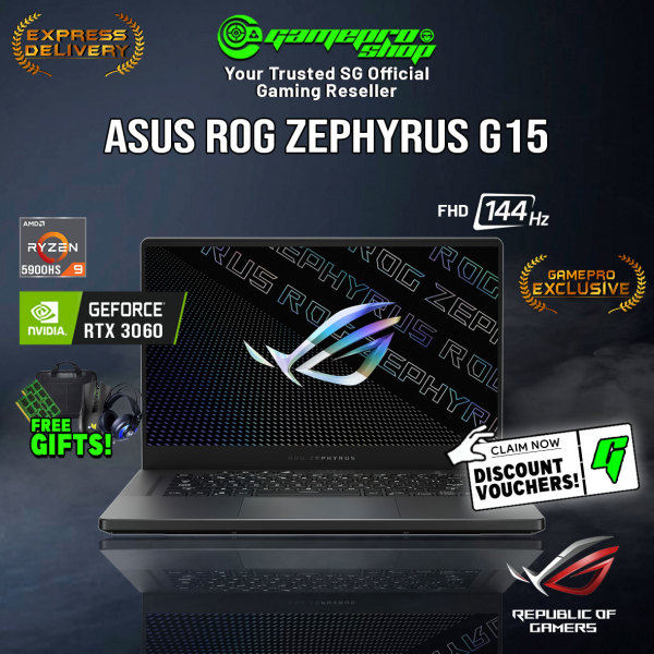 [Pre-Order][EXCLUSIVE] ASUS ROG Zephyrus G15 GA503QM-HN048T Laptop (Ryzen 9 5900HS/16GB/1TB SSD/RTX 3060/15.6 FHD 144hz/W10/2Y)
