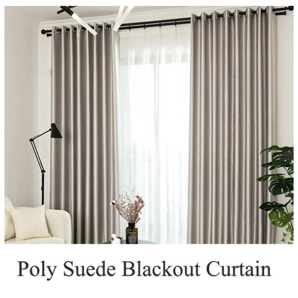 Poly Suede Blackout Curtain - 150cm by 250cm  (Bundle = 2 pieces)