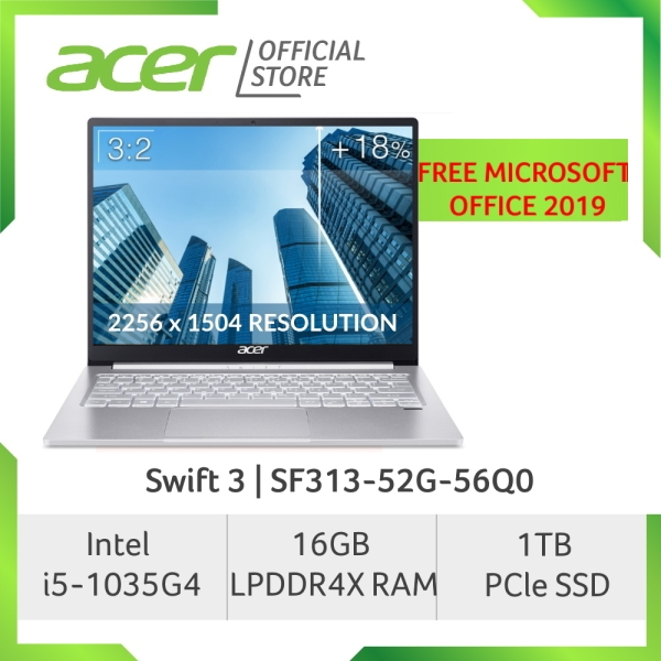 Acer NEW Swift 3 SF313-52G-56Q0 13.5 inch 2K (2256 x 1504) IPS Screen Project Athena Laptop with Intel i5-1035G4 and 16GB RAM
