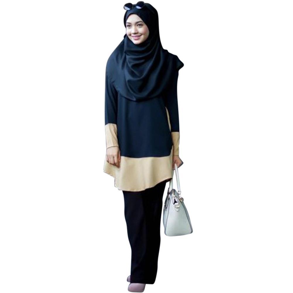 3797de3e8d LumiParty Vintage Muslim Women Long Sleeve Color Matching Dress Pullover