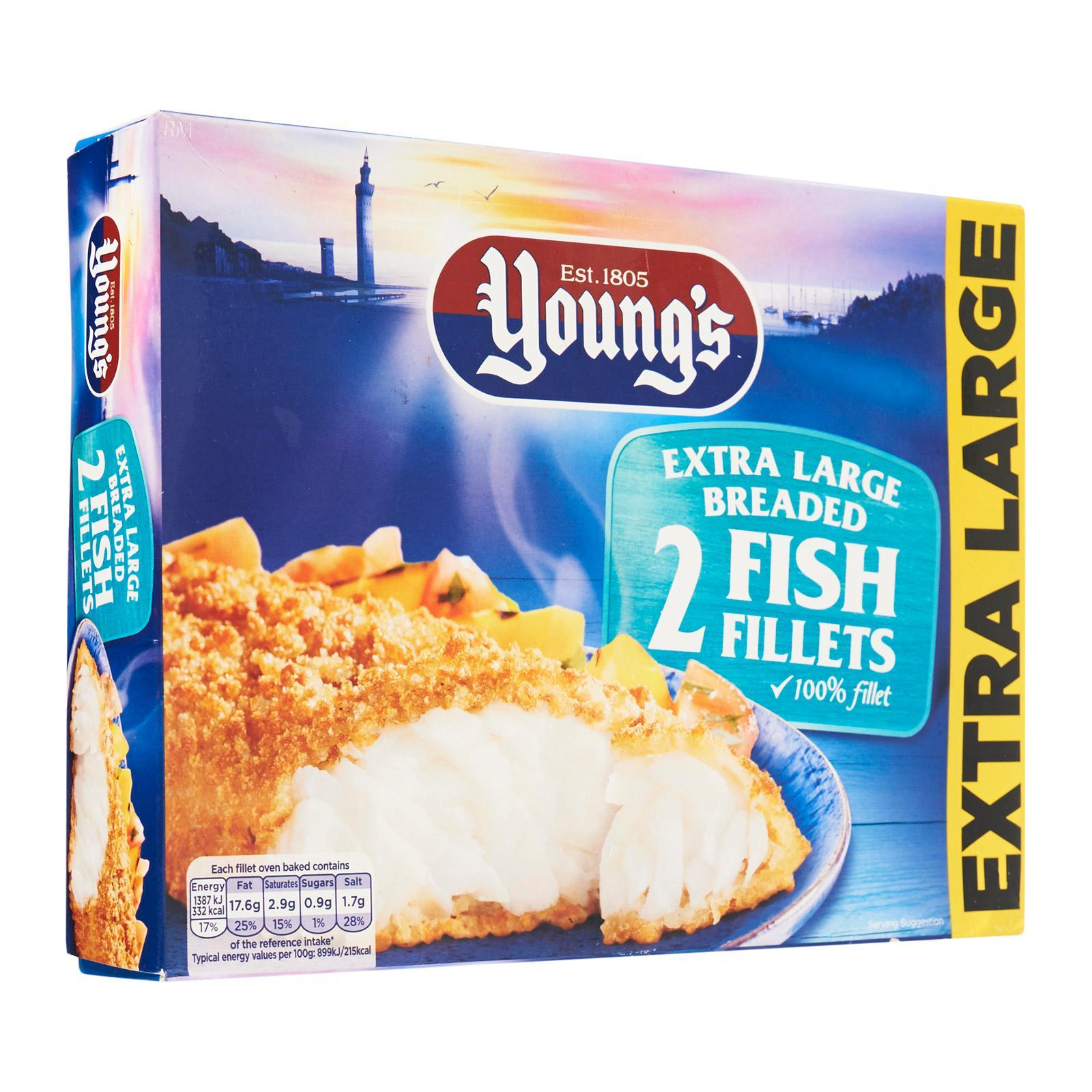 Young's 2 Extra Large Breaded Fish Fillets - Frozen