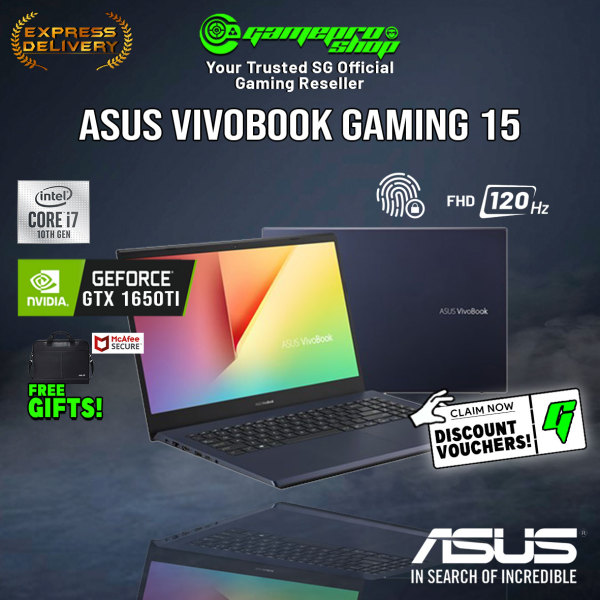 [Express Delivery] ASUS Vivobook Gaming Laptop F571LI-AL273T (i7-10750H/16GB/512GB SSD/GTX 1650ti/15.6120hz/W10/2Y)