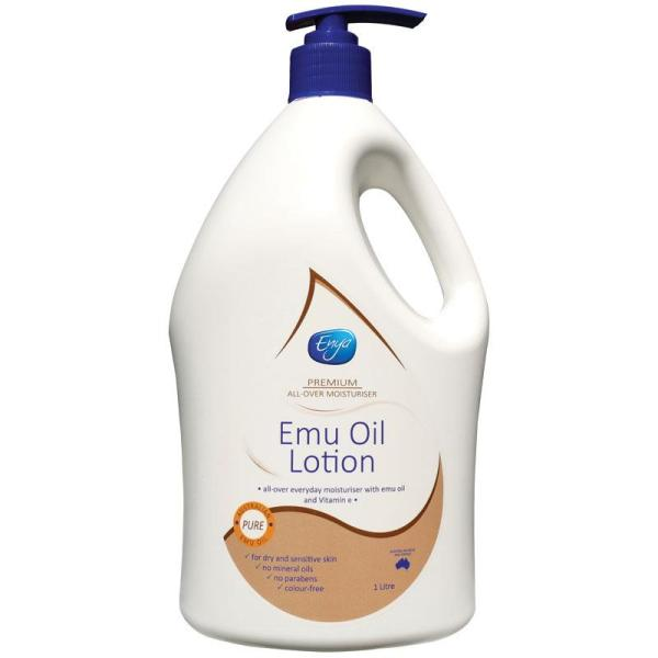 Buy Enya Emu Oil Lotion 1 Litre Expiry Dec 2024 - Australia Made, 100% Authentic - With Vitamin E - Hand & Body Moisturising Lotion For Dry and Sensitive Skin No Mineral Oils No Parabens Colour-free Singapore