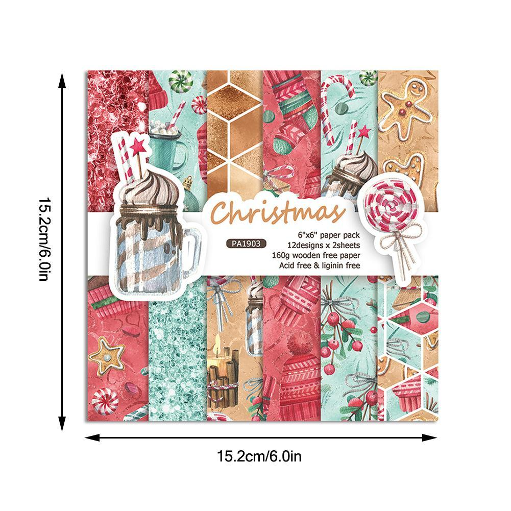 Merry Christmas Series Scrapbooking Paper Pack Craft Paper Art Card Card Making Background Paper 5.2X15.2cm 24 Sheets /pack