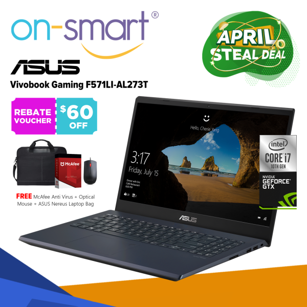 【Next Day Delivery】ASUS VivoBook Gaming F571LI-AL273T | Intel Core I7-10750H Processor | 16GB RAM | 512GB NVMe SSD | NVIDIA GeForce GTX 1650Ti | Windows 10 Home | 2 Years International Warranty