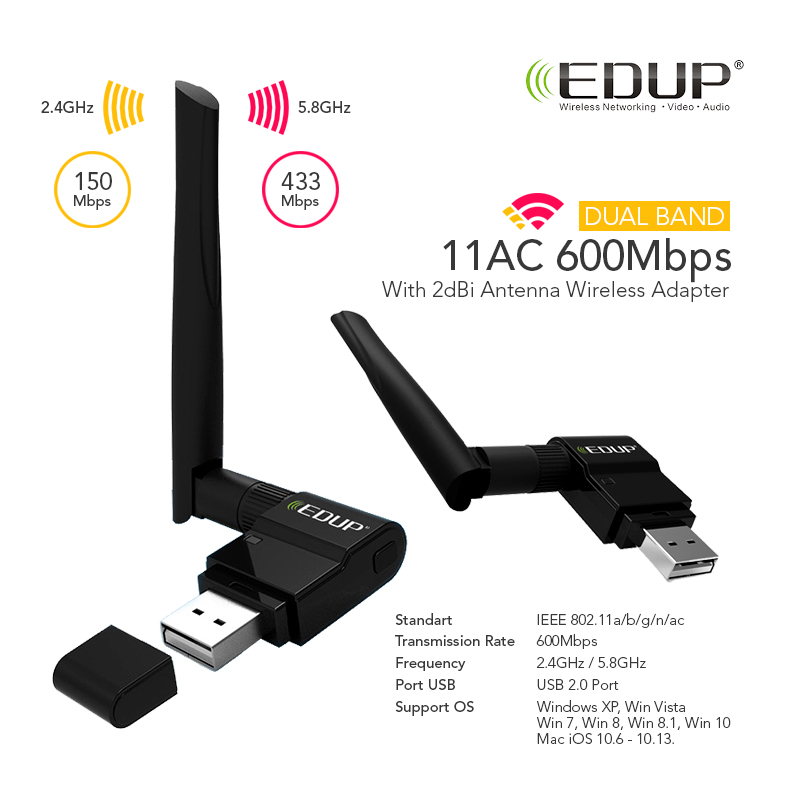 Ursa Mart ✮ EDUP 11AC 600m Dual Band Wireless USB Wi-Fi Adapter ✮ High Speed ✮ Strong Connectivity