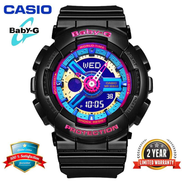 Original Casio Baby G BA112 Women Sport Watch Dual Time Display 100M Water Resistant Shockproof and Waterproof World Time LED Light Girl Sports Wrist Watches with 2 Year Warranty BA-112-1A (Ready Stock) Malaysia