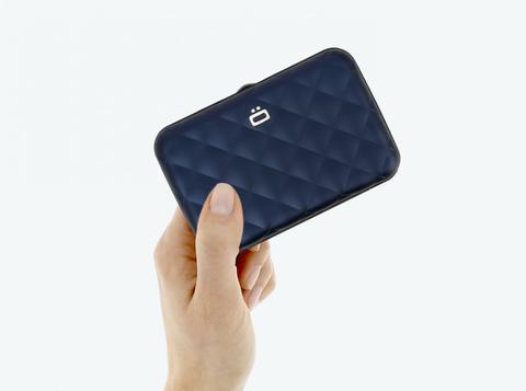 OGON Quilted Button Card Holder RFID Safe - Navy Blue