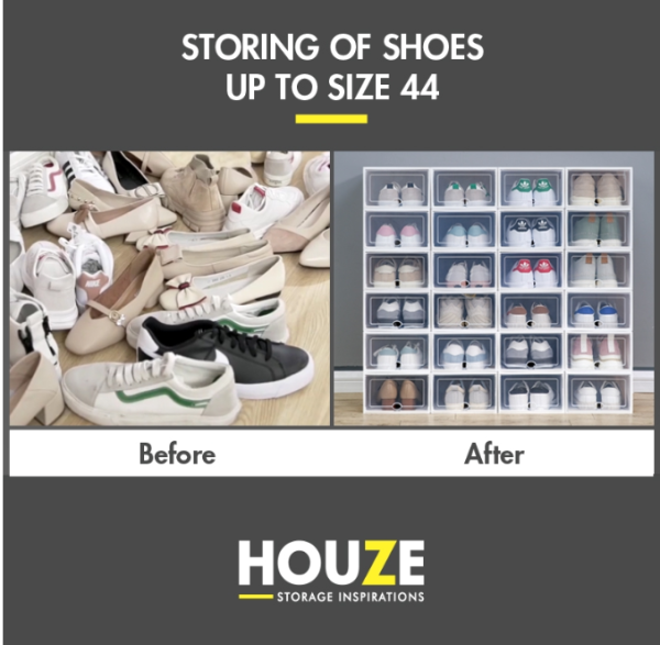 [Ready Stock]SoleMate - EZ Stackable Drop Lid Shoe Box - Fits: Size 44 (Pack Of 6)