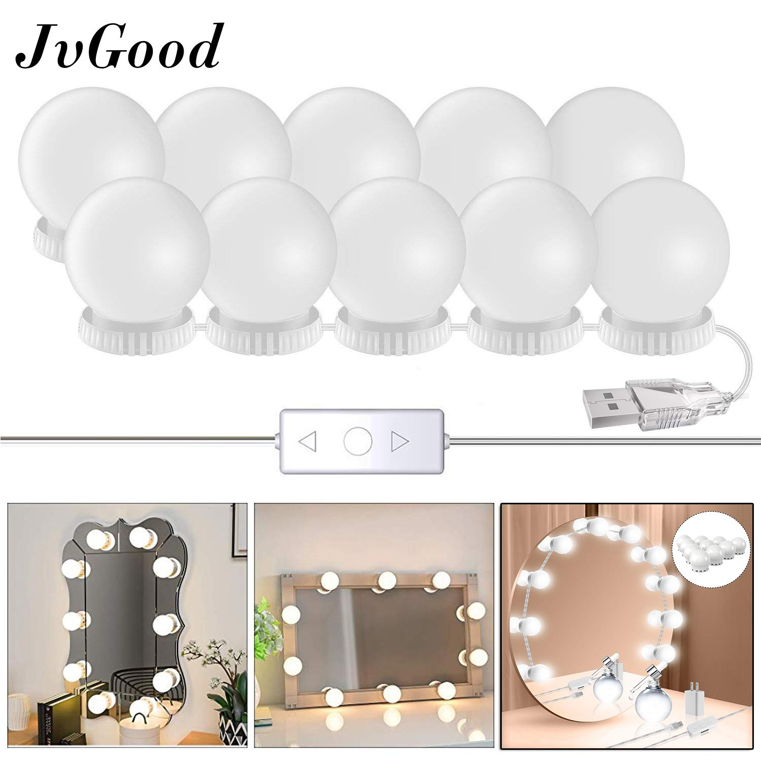 Jvgood led mirror lights make up vanity mirror light with 10 light bulbs for makeup dressing