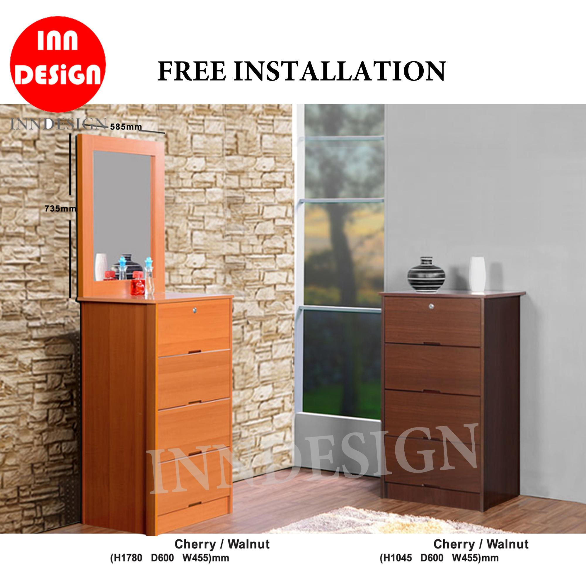 Russel Chest of Drawer With/Without Mirror (Walnut / Cherry) (Free Installation)